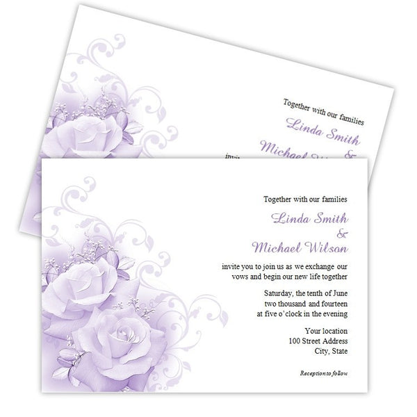Purple Roses Wedding Invitation Template