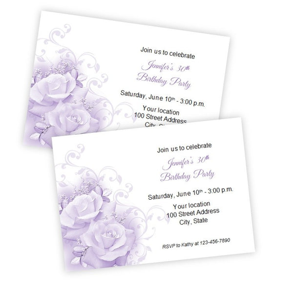 Purple Roses Birthday Invitation Template