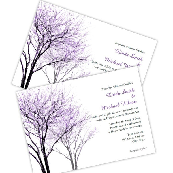 Purple Trees Wedding Invitation Template