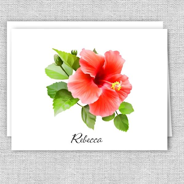Red Hibiscus Floral Personalized Note Cards