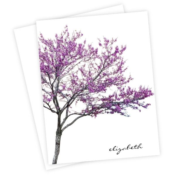 Redbud Tree Personalized Printed Note Cards