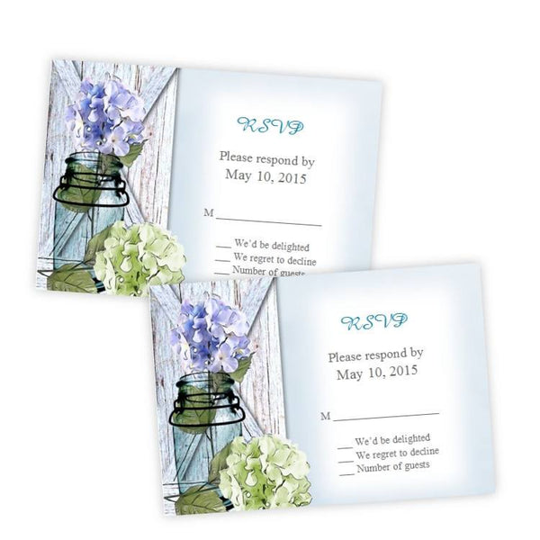 Hydrangea in a Mason Jar RSVP Card Template