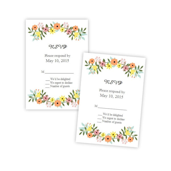 Country Flowers RSVP Card Template