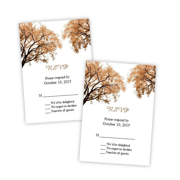Fall Trees 2 Wedding RSVP Card Template