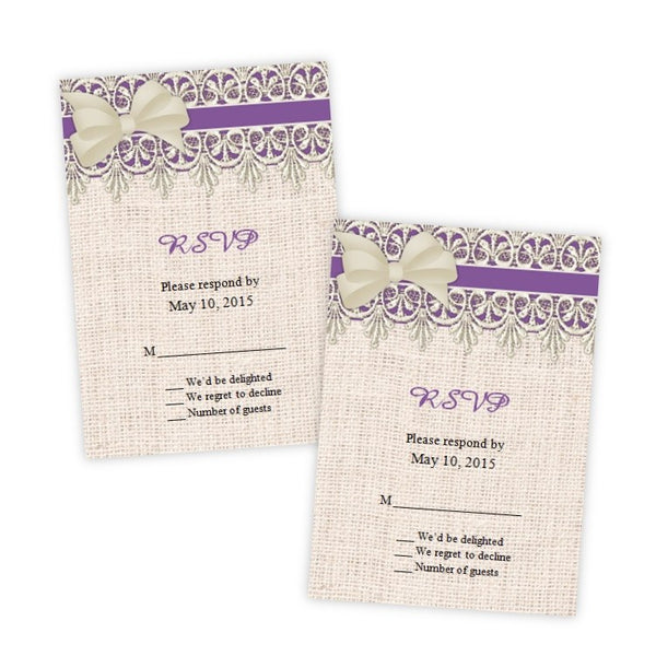 Lace & Burlap RSVP Card Template