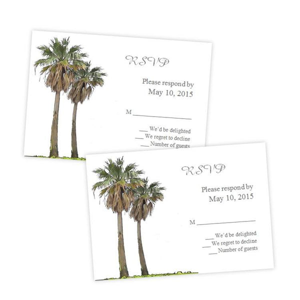 Tropical Palm Trees Wedding RSVP Card Template