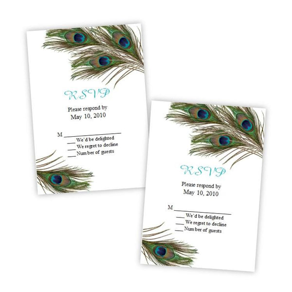 Peacock Feathers Wedding RSVP Card Template