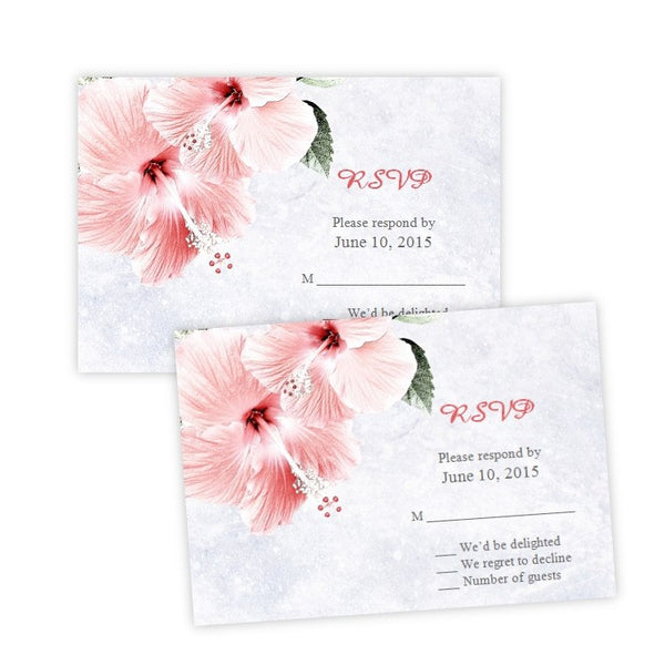 Pink Hibiscus Flowers Wedding RSVP Card Template