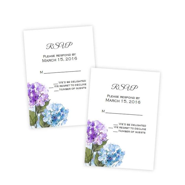 Purple & Blue Hydrangeas Wedding RSVP Card Template