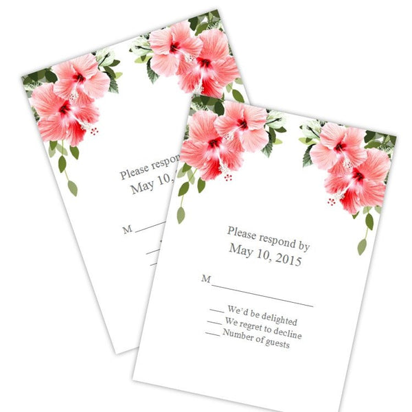 Tropical Hibiscus Wedding RSVP Cards Template