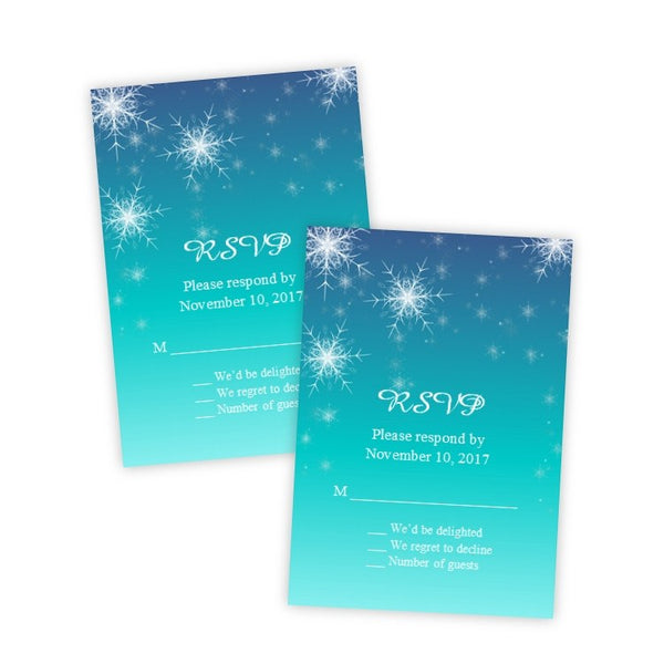 Snowflakes Winter Wedding RSVP Card Template