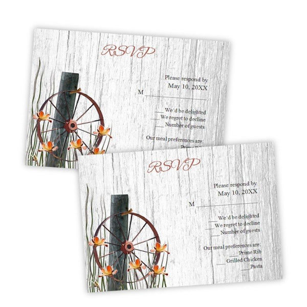 Wagon Wheel Wedding RSVP Card Template