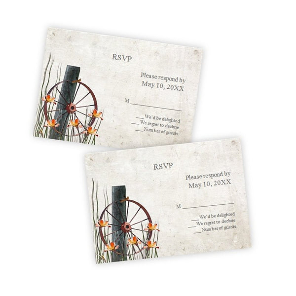 Rustic Wagon Wheel Wedding RSVP Card Template