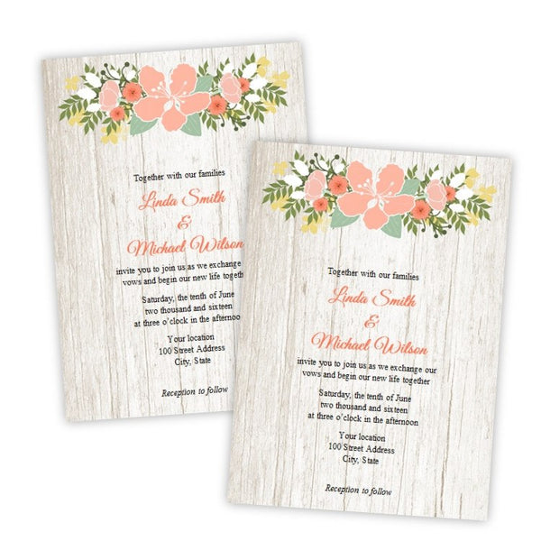 Rustic Country Flowers Wedding Invitation Template