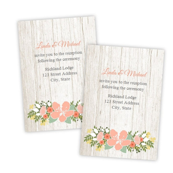 Country Flowers  Wedding Reception Card Template