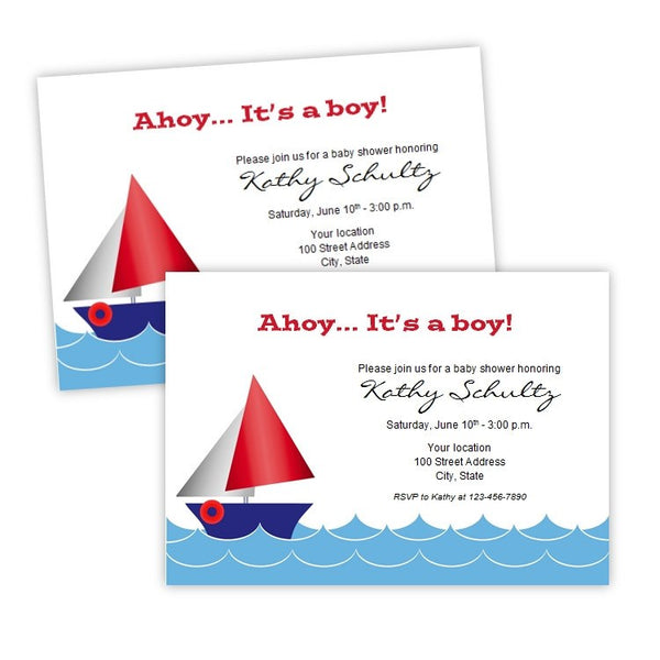 Sailboat Baby Shower Invitation Template