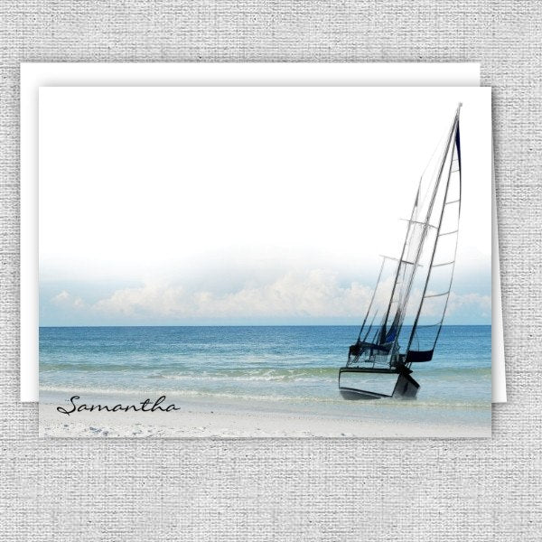 Sailboat by the Beach Personalized Note Cards