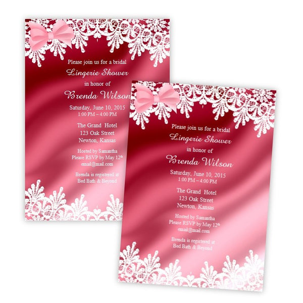 Satin Lingerie Bridal Shower Invitation