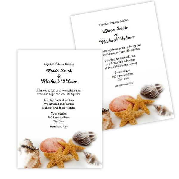 Seashells Wedding Invitation Template