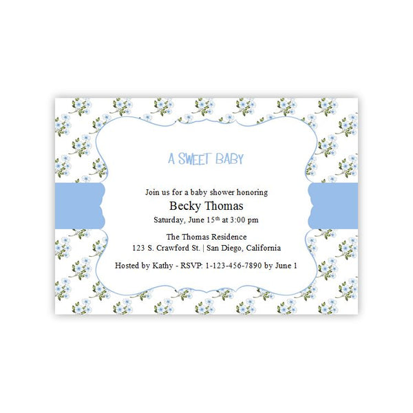 Baby Shower Invitation - Little Blue Flowers