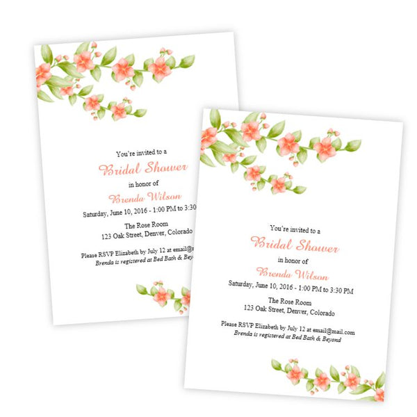 Coral Flowers Bridal Shower Invitation