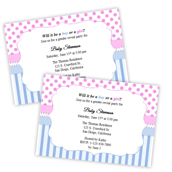 Gender Reveal Baby Shower Invitation - Pink Dots - Blue Stripes