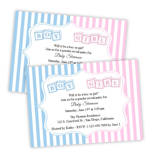 Toy Block Gender Reveal Baby Shower Invitation