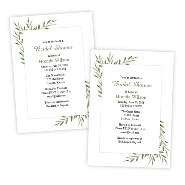 Watercolor Leaves Bridal Shower Template