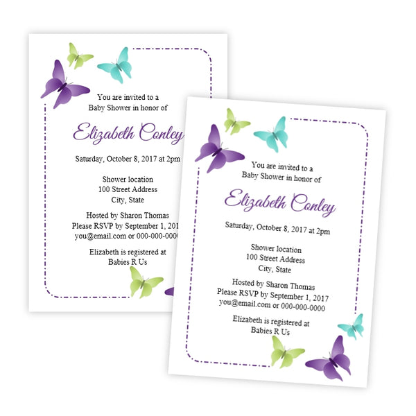 Butterflies Baby Shower Invitation
