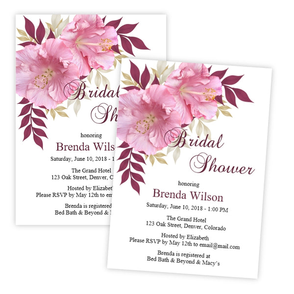 Pink Hibiscus Bridal Shower Invitation