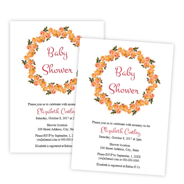 Yellow Roses Wreath Baby Shower Invitation