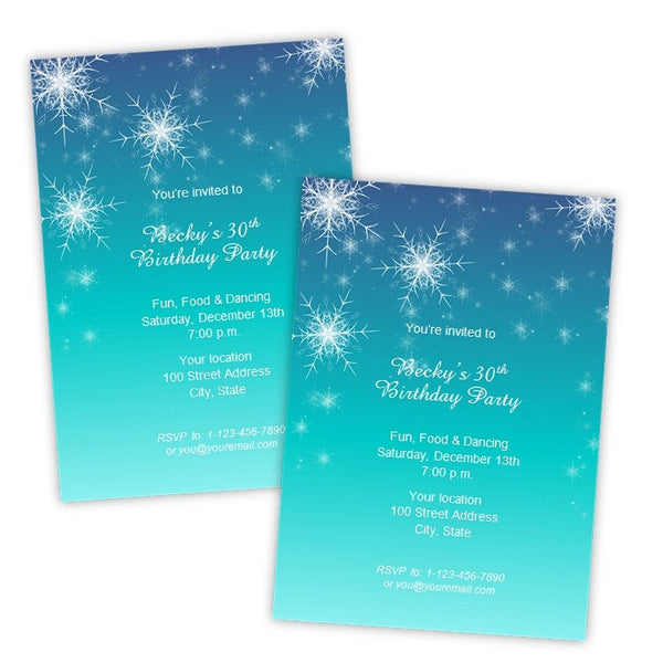 snowflakes winter birthday invitation template a j s prints