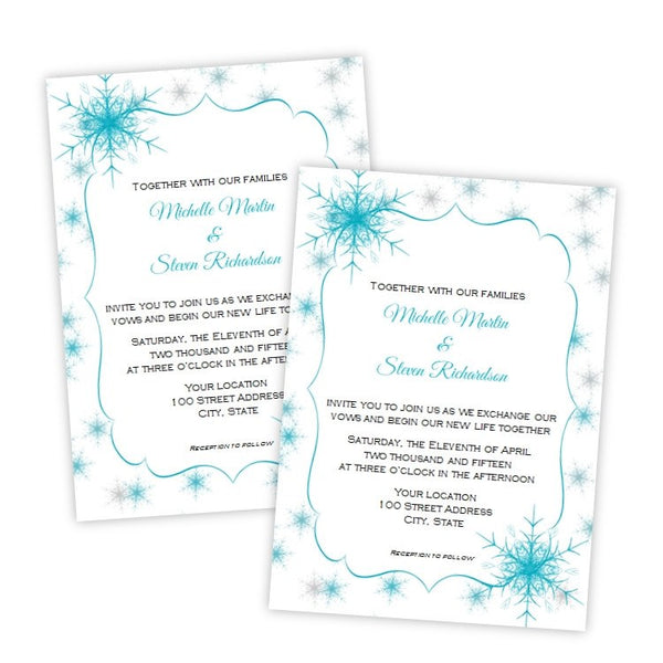 Turquoise and Gray Snowflakes Wedding Invitation Template