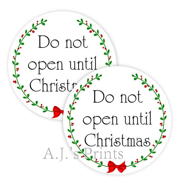 Do Not Open Christmas Stickers