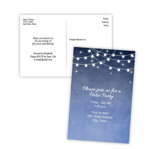 String of Lights Evening Party Invitation Postcard