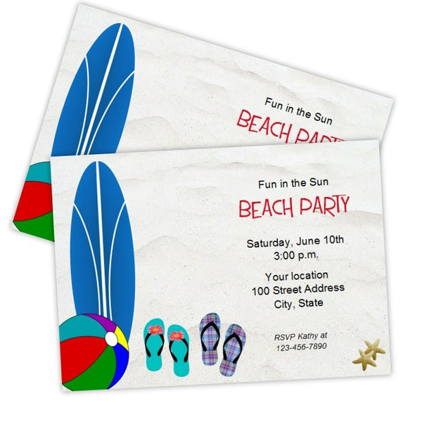 surfboard beach party invitation template a j s prints
