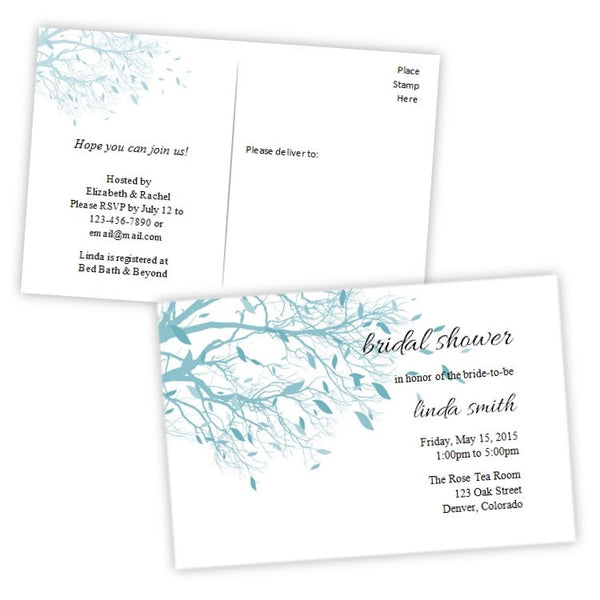Teal Tree Branches Bridal Shower Postcard Invitation