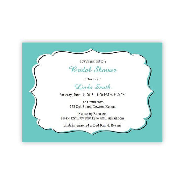 Teal Bridal Shower Invitation Template