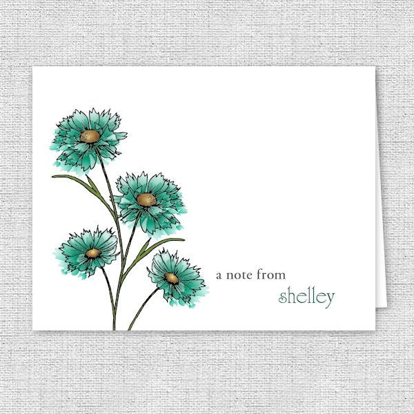 Teal Spring Flowers Personalized Note Cards