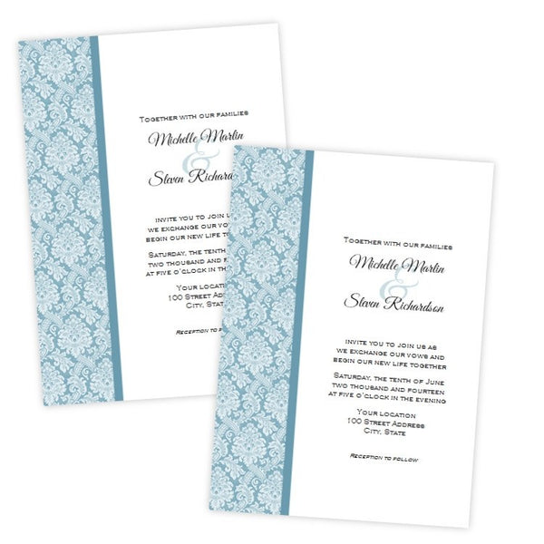 Teal Damask Wedding Invitation Template