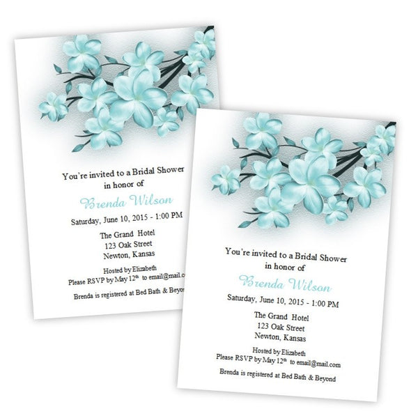 Teal Floral Branches Bridal Shower Invitation