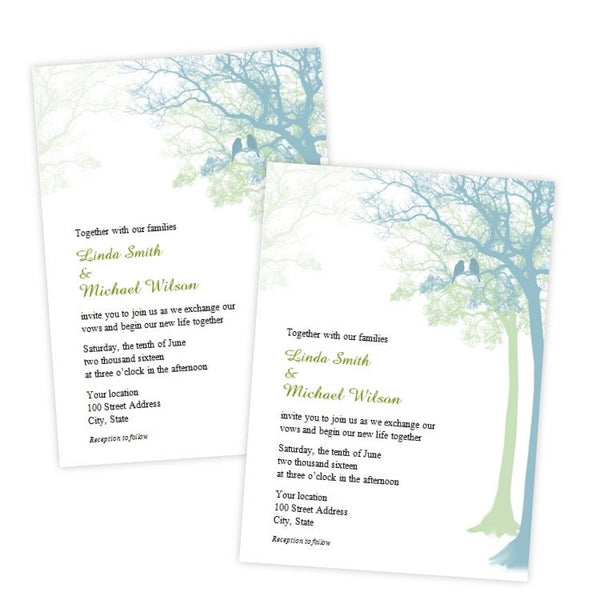 Love Birds in a Tree Wedding Invitation Template