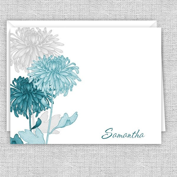 Teal & Gray Mums Personalized Note Cards
