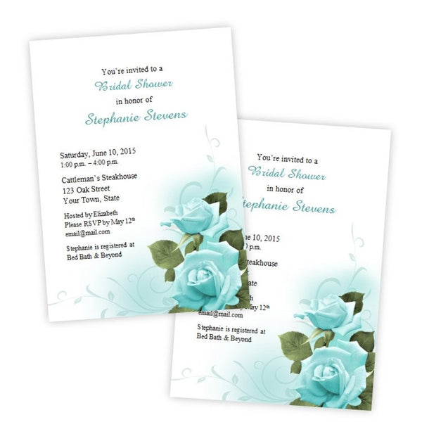 Teal Roses Bridal Shower Invitation Template