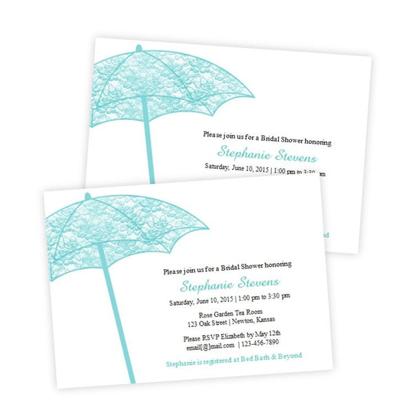 Teal Lacey Umbrella Bridal Shower Template