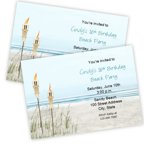 Beach Party Tiki Torch Birthday Invitation