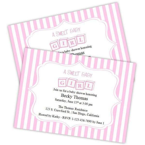Toy Blocks Girl Baby Shower Invitation
