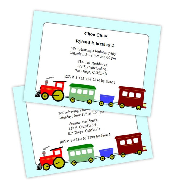 Choo Choo Train Birthday or Baby Shower Invitation