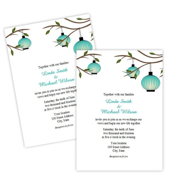 Turquoise Hanging Lanterns Wedding Invitation