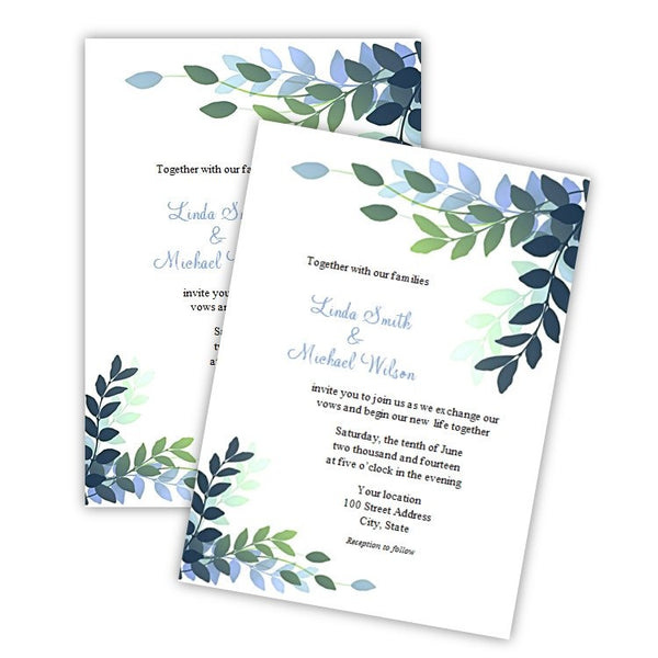 Graceful Variegated Leaves Wedding Invitation Template